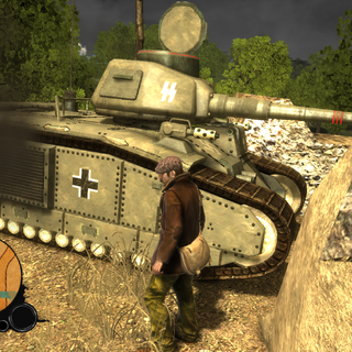 A side view of the Flammwagen in it's unique spawn point.