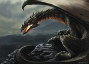 640x460 10957 Dragon 2d fantasy dragon mountain picture image digital art