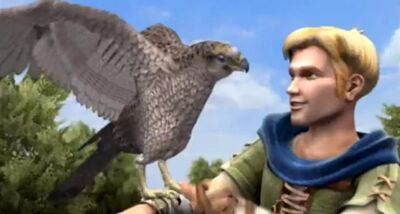 Dario and his falcon