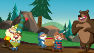 S2e06a happy, doc, sneezy, sleepy and bear walking away giggling