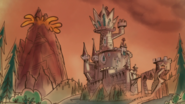 S1e24 castle and volcano in storybook