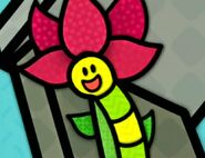 Inchworm and Big Red Flower