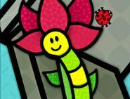 Inchworm Big Red Flower and Ladybug