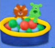 Orange and green puppy balls