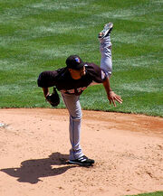 497px-Johan Santana releasing a pitch in May 2008