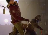 Bruiser hitting civilian