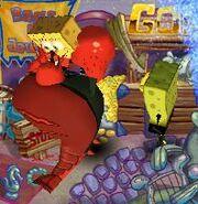 Squidbob and Frederique attacking Spongebob