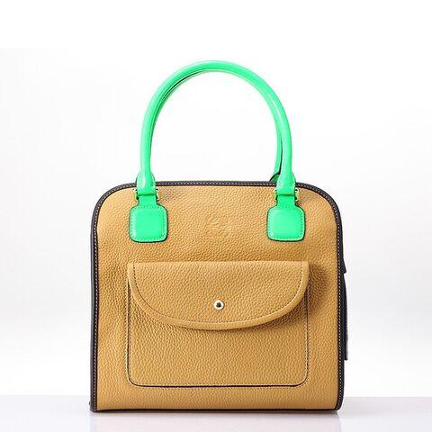 File:Loewe Amazona Bag Brown With Fluorescent Green Handle.jpg