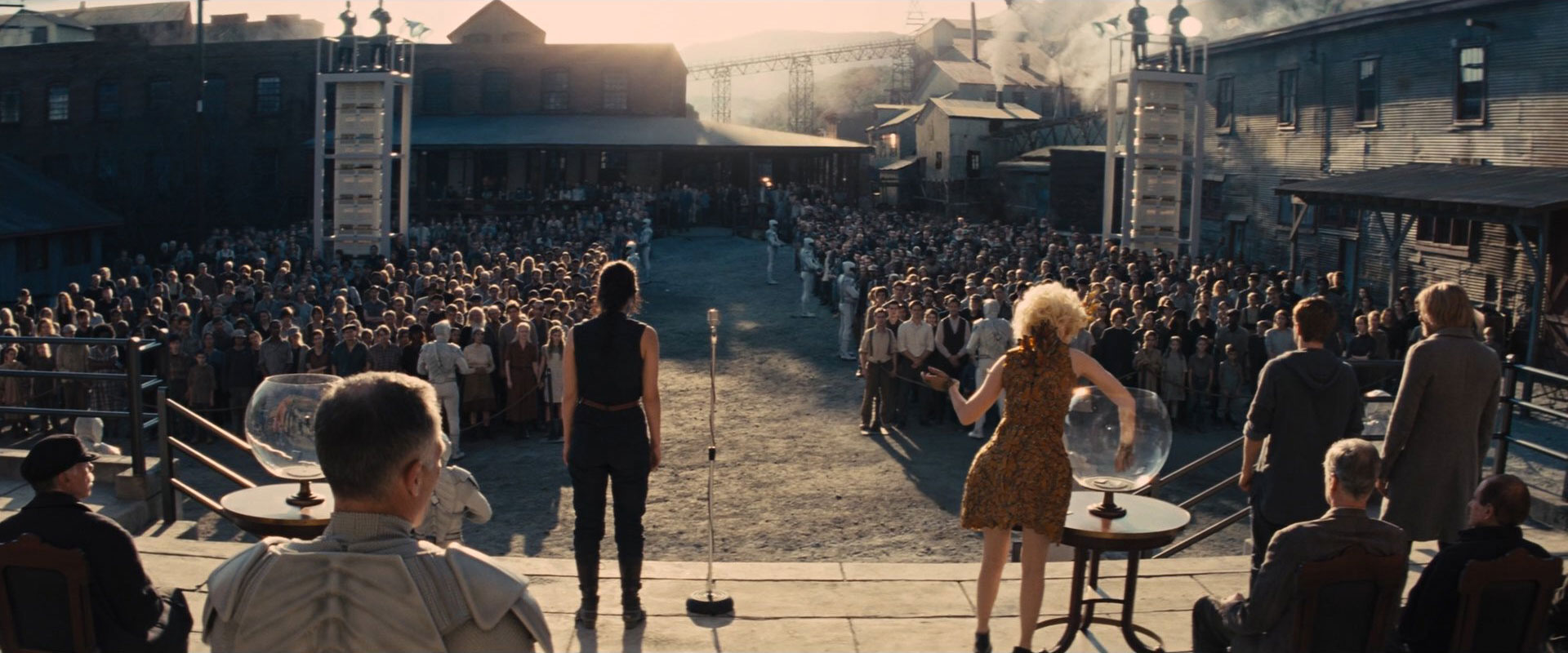 The Reaping at District 12, as depicted in The Hunger Games: Catching Fire.