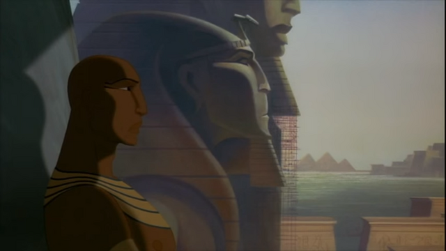 File:Rameses in his thrown room with his and his father's statue behind him.png