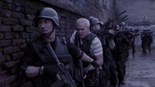 The raid squad outside