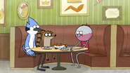 S7E19.137 Benson Eating Wings with Mordecai and Rigby