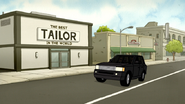 S6E18.002 A Black SUV Parks in Front of the Tailor Shop