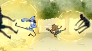 S4E13.158 Mordecai and Rigby Kicking Two Scythe Guards