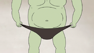 S5E11.115 Muscle Man Putting on His Speedo