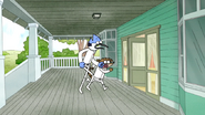 S6E27.096 Mordecai and Rigby Running Towards the House