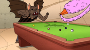 S7E11.130 Bat Person and Pink Bird Playing Pool