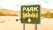 S4E27.124 Flaming Arrows on a Park 8 Miles Sign
