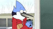 S6E10.065 Mordecai Pretending to Get a Call From Benson
