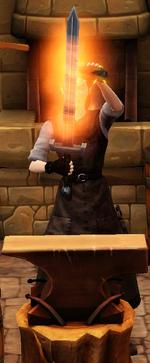Fiery greatsword sharpened by blacksmith