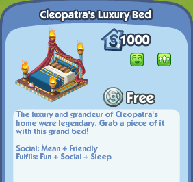 cleopatra s luxury bed the sims social wiki fandom powered by