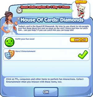 House Of Cards Diamonds quest