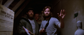 MacReady and Clark approach the kennels - The Thing (1982)