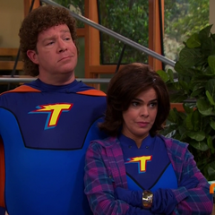 Thunderman and Electress's outfit for the self-help book and the instructional video created in the 1990s.