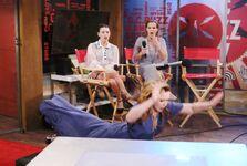 Mariah falls on face