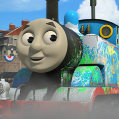 Thomas covered with paint and scratches