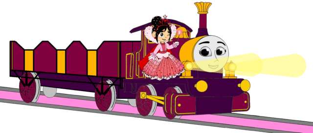 File:Lady with Princess Vanellope, her Open-Topped Carriage & Shining Gold Lamps.png