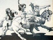 Thundarr, Arial & Ookla on Horseback - Kirby