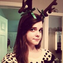Tiffany wearing antlers - December 27, 2013