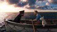 Tintin, haddock, snowy on the boat