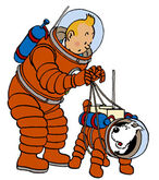 Tintin as an astronaut