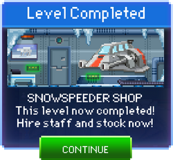 Message Snowspeeder Shop Complete