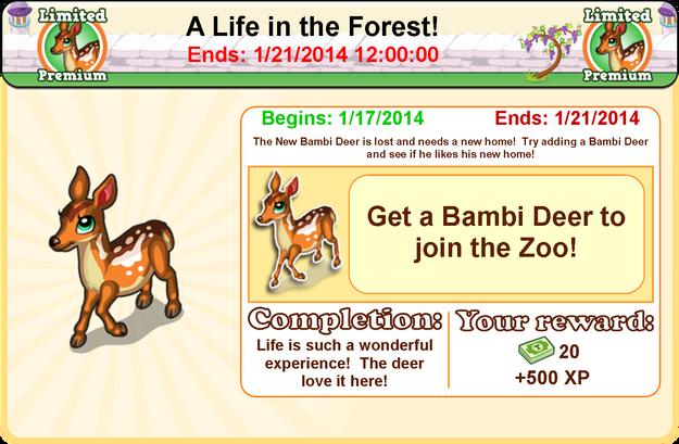 Bambi deer goal modal