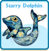 Starry dolphin card