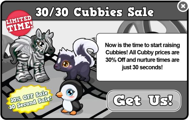 Black and white cubby sale modal