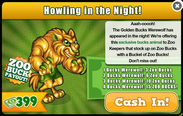 Golden bucks werewolf modal