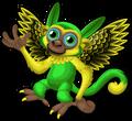 Green parakeet monkey single