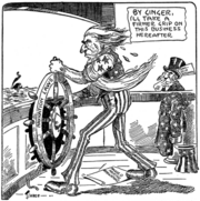 "Cartoon of Uncle Sam taking hold of a ship's wheel marked ""Navigation Laws"" and saying, ""By ginger, I'll take a firmer grip on this business hereafter."" At his feet is a paper reading ""Ragged marine regulations"". A worried-looking man in a top hat marked ""Steamship Magnate"" looks on. In the distant background a ship can be seen sinking."