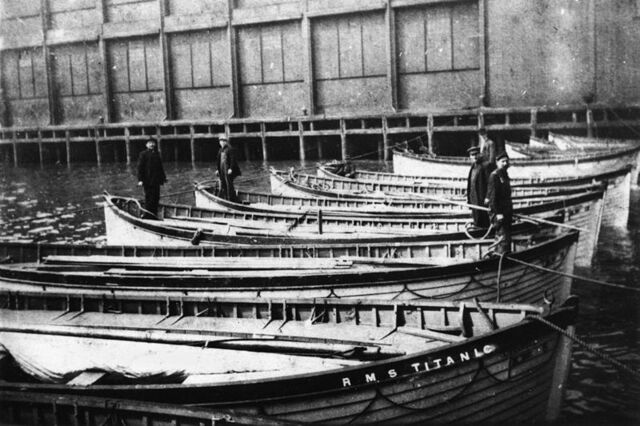 File:StateLibQld 1 169523 Rescued lifeboats, all that is left from the great ship Titanic, New York, 1912.jpg