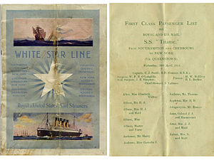 Titanic Brochure carried by Marian Thayer