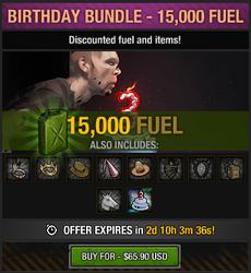 Tlsdz 3rd year birthday bundle 15000 fuel