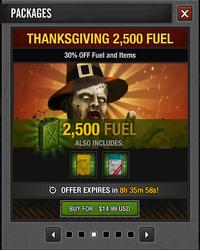 Tlsdz thanksgiving 2500 fuel