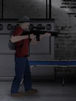 Hank wielding scoped M16A2