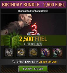 Tlsdz 3rd year birthday bundle 2500 fuel