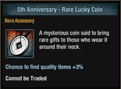 5th Anniversary - Rare Lucky Coin inventory view