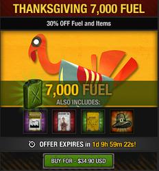 Tlsdz thanksgiving 7000 fuel package 2014